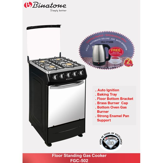 Binatone Floor Standing Gas Cooker - FGC-502 + Free Jug