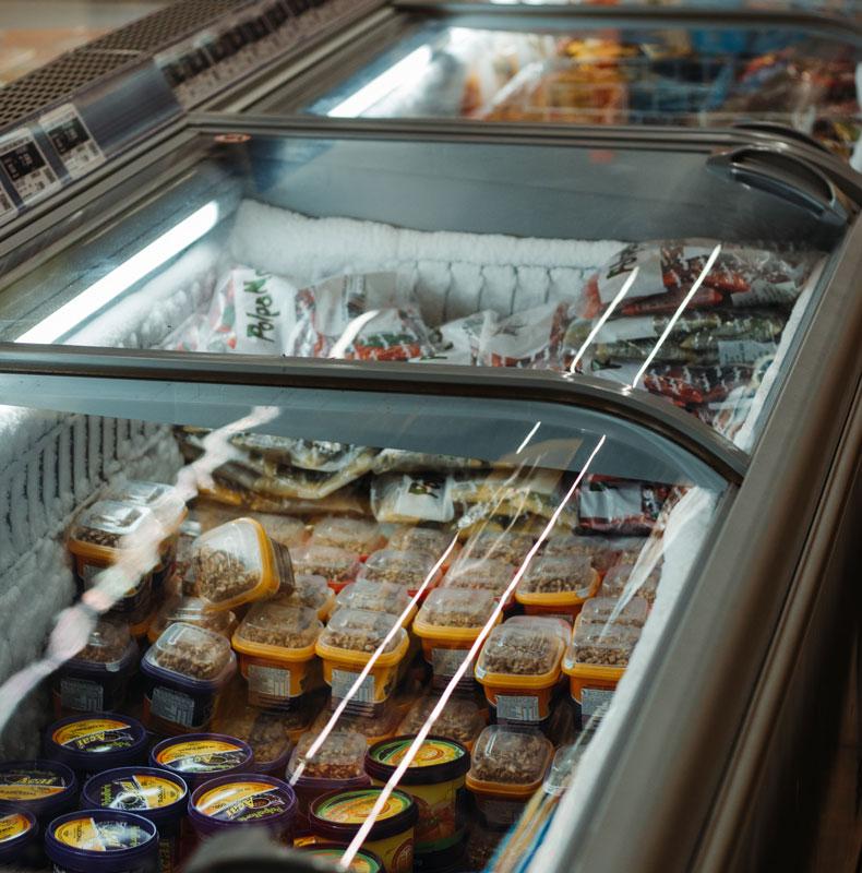 Deep freezers in supermarket